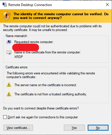 Security warnings