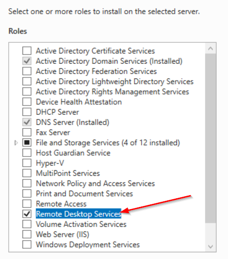 Screenshot 1: list of available server roles