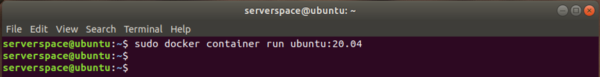 Launch a docker container based on the Ubuntu image