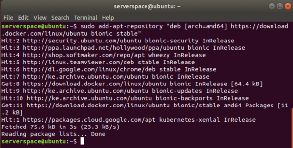 With the GPG key in place, append Docker's repository to the sources.list file