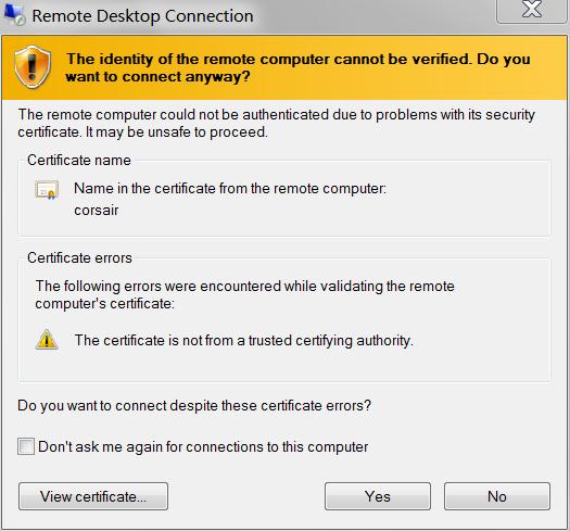 RDP Certificate Accept