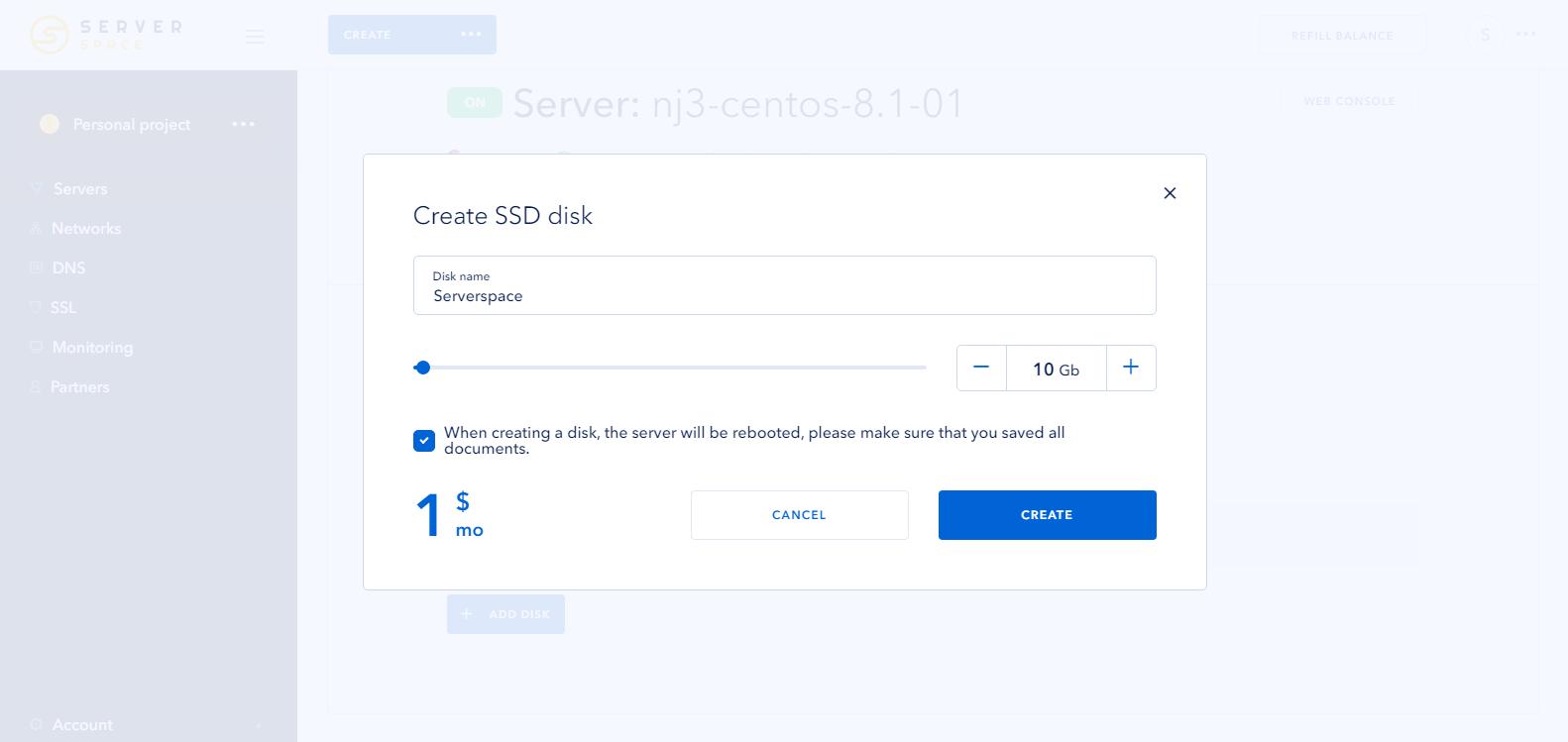Screenshot 1: new disc add - ServerSpace