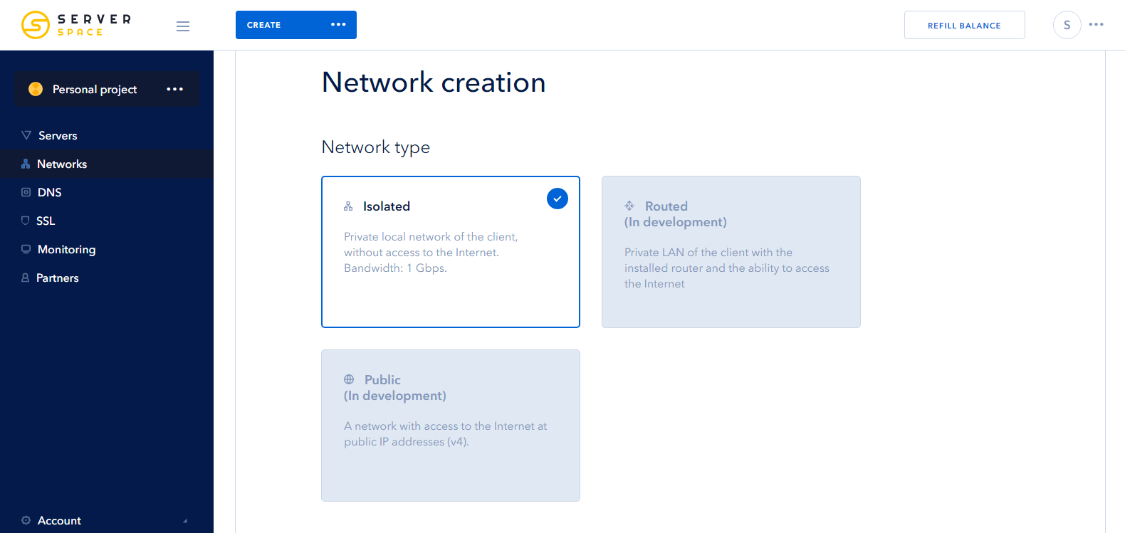 Screenshot 1: creating isolated network - select a type