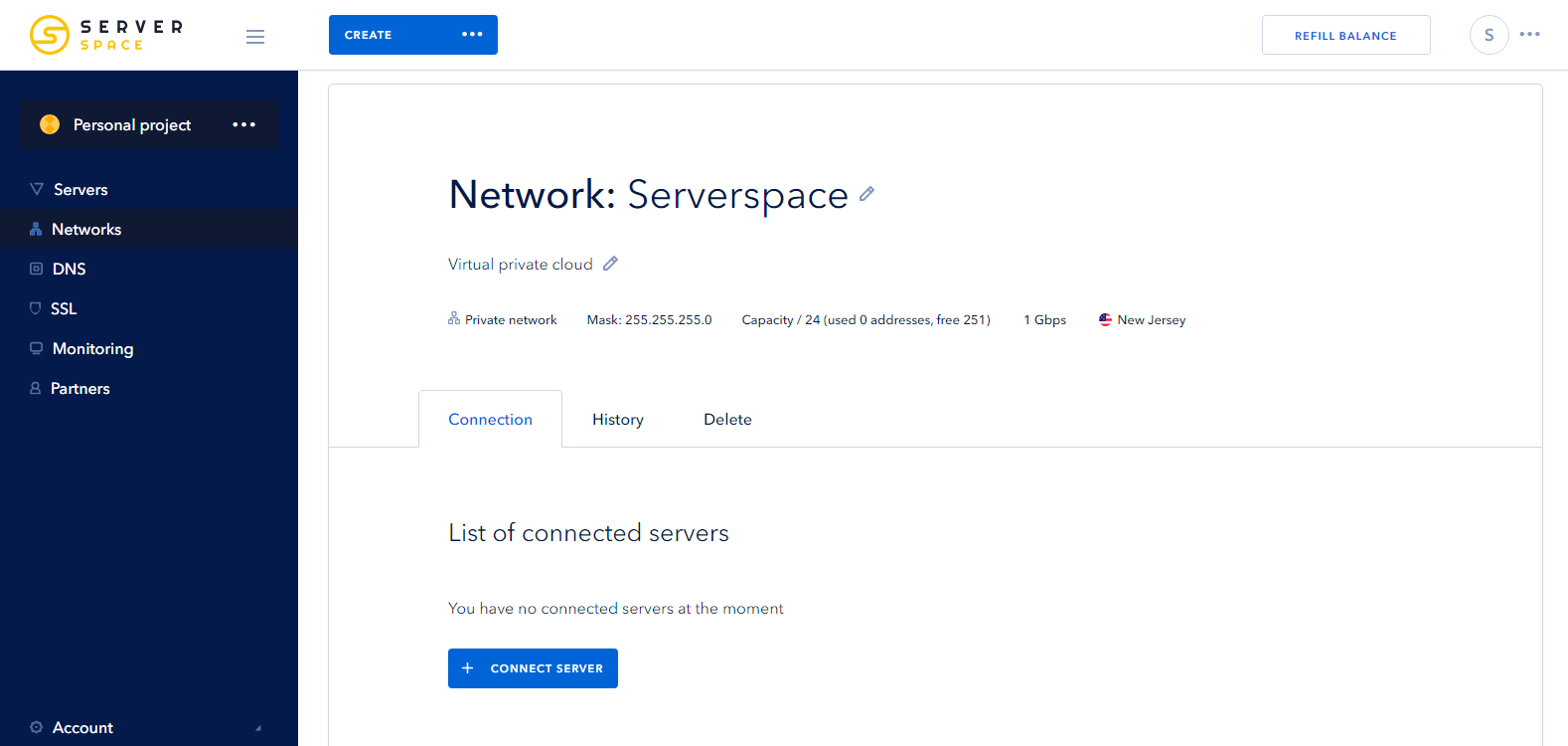 Screenshot 3: creating isolated network - connect