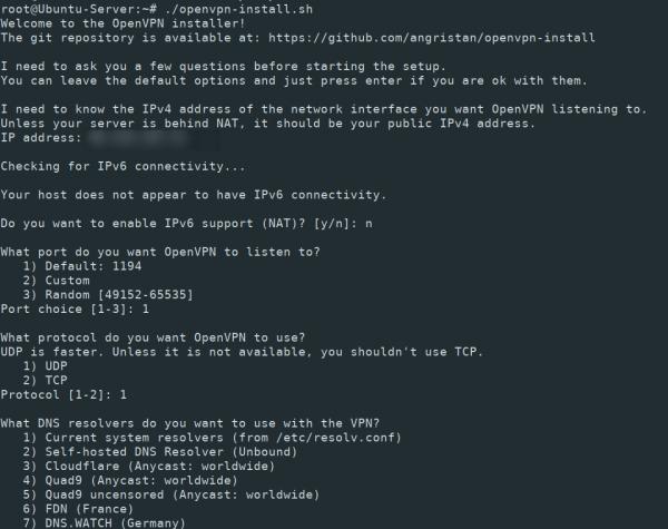 OpenVPN installation settings